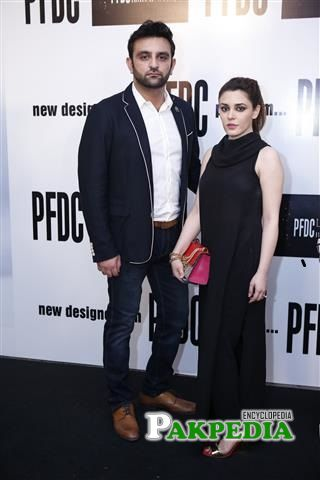 Ammara Hikmat at fashion show with her husband