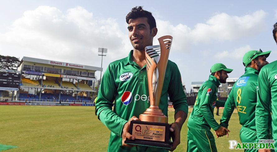 Shadab Khan With Trophy