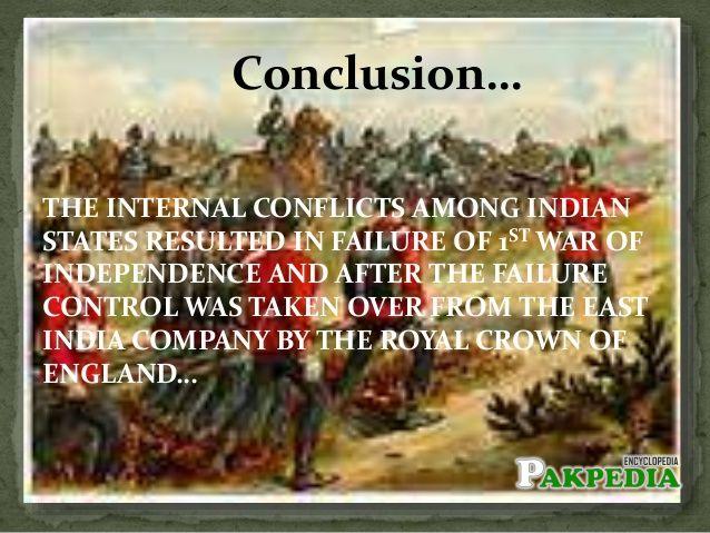 Conclusion of 1857 rebillion