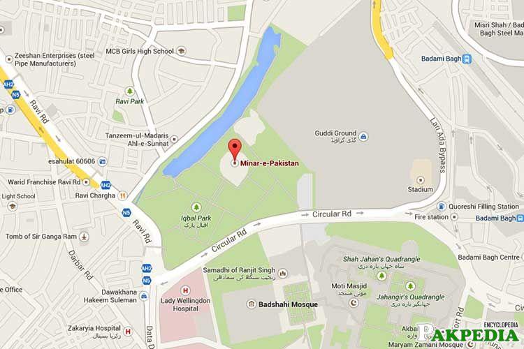 Map of Minar-e-Pakistan