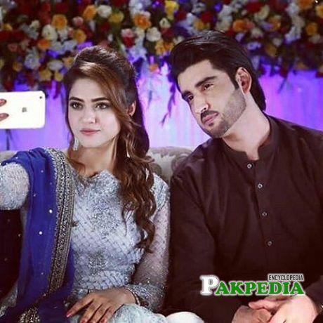Namrah Shahid with Agha Ali while shooting Khaati Meethi Lovestory