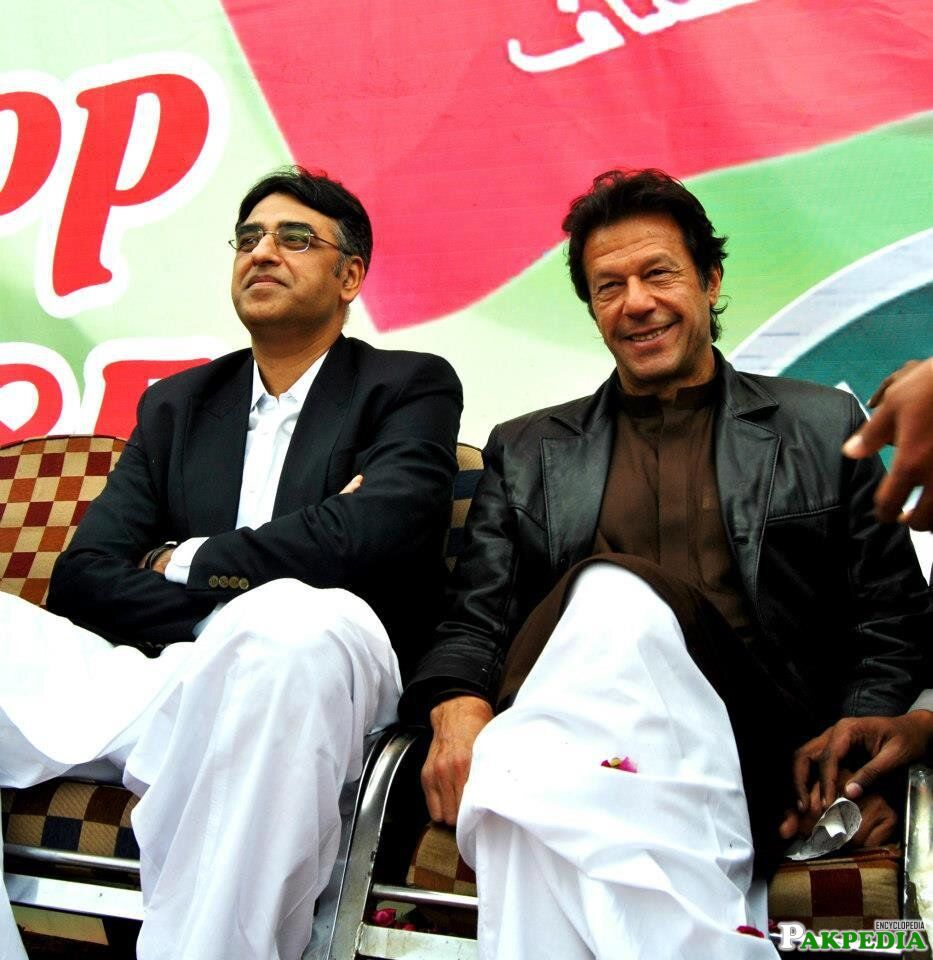 Asad Umar with Imran Khan
