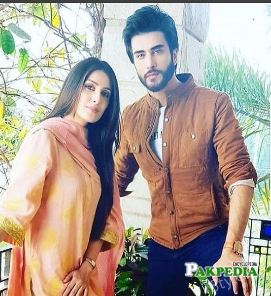 Ayeza Khan with Imran Abbas on sets of 'Koi chaand rakh'