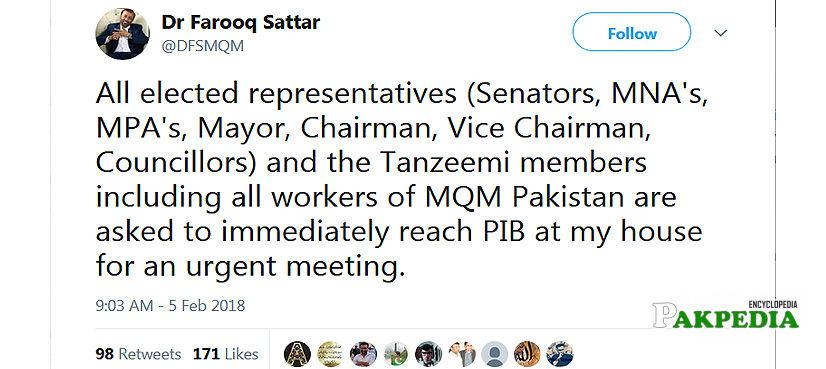 Farooq Sattar Twitted