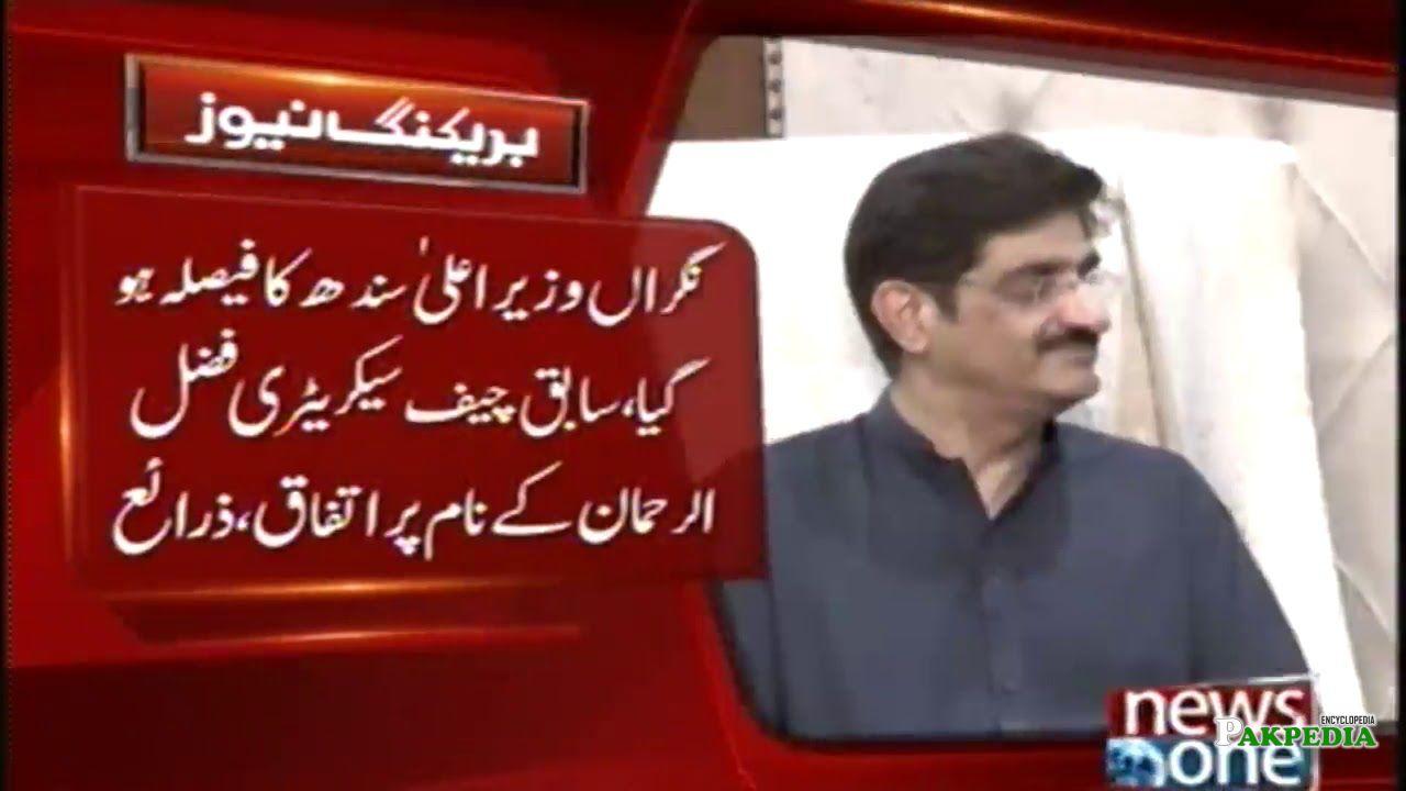 Fazalur Rehman as Sindh caretaker