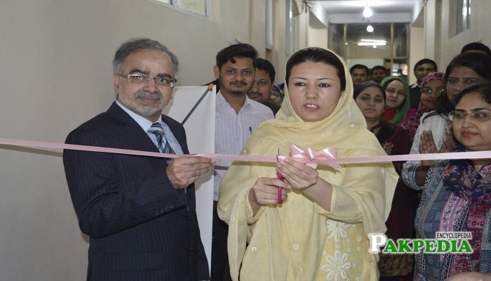 Hameeda Mian while inaugurating daycare center in Lahore