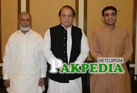 Usman Ibrahim with Nawaz Sharif and Hamza Shehbaz