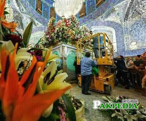 Shrine is beind decorated with flowers