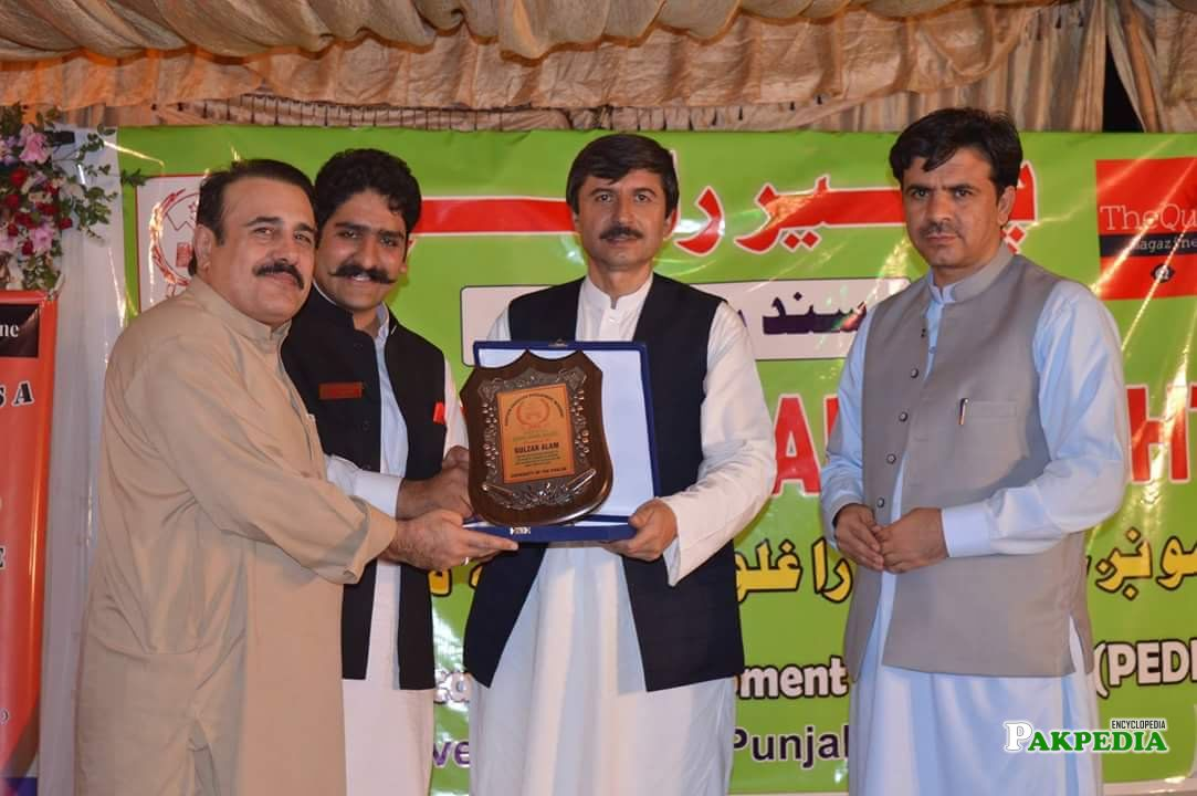 While giving award to Gulzar alam
