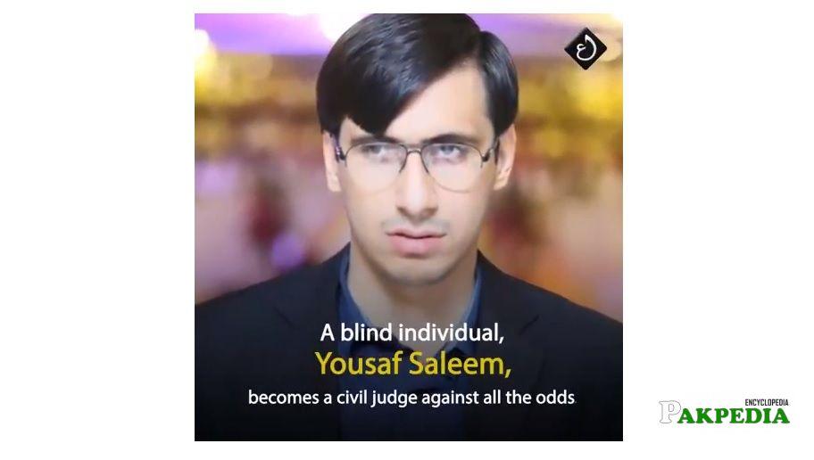 First blind civil judge Yousaf Saleem