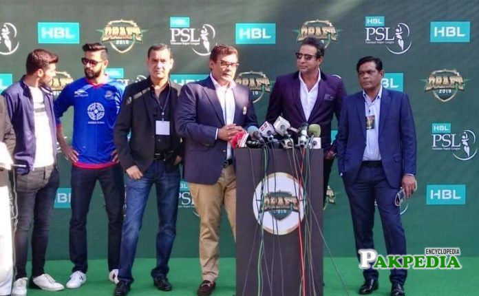 Wasim Akram and Salman Iqbal at the PSL 4 event