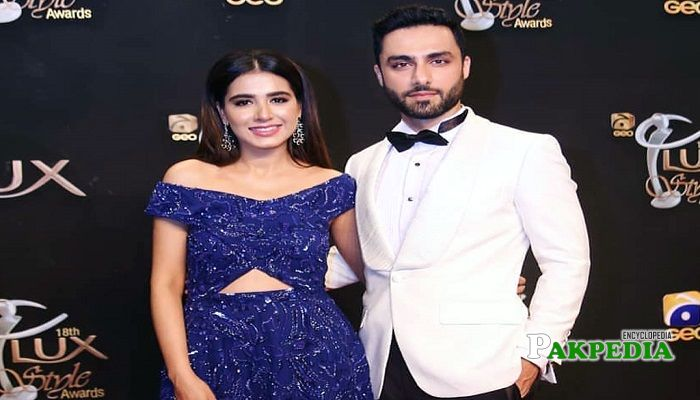Ahmed with Mansha Pasha at Lux awards
