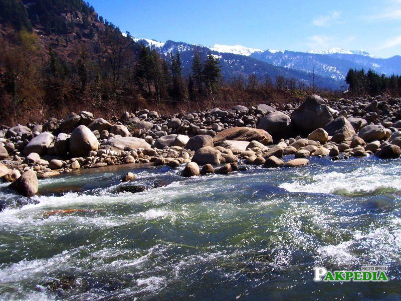 Heavy flow of river Bias