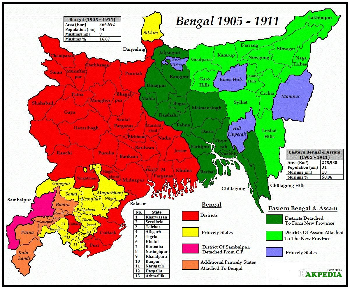 Bengal on map of India