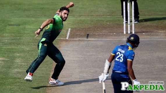 Usman Khan Sanwari Celebrating after taking a wicket