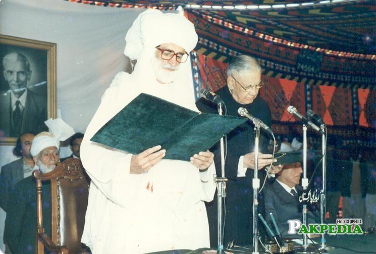 Akbar Bugti taking Oath