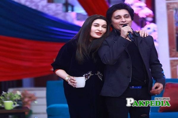 Shaista with her brother Sahir Lodhi