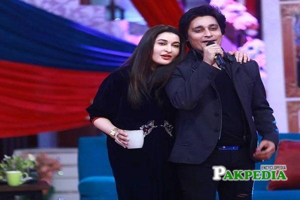Shaista with her brother Sahir Lodhi