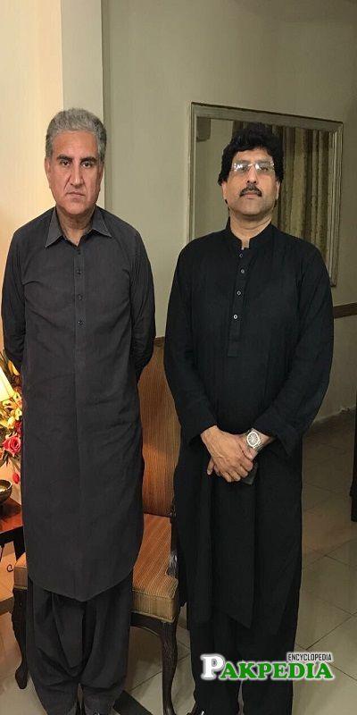 Hamid Yar Hiraj with Shah Mehmood Qureshi