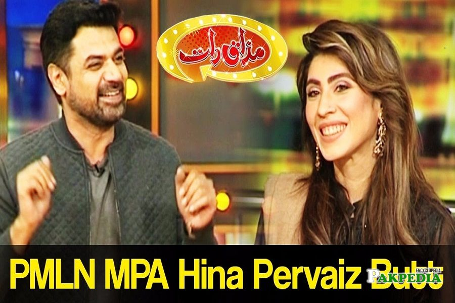 Hina Pervaiz on the sets of Mazak Raat