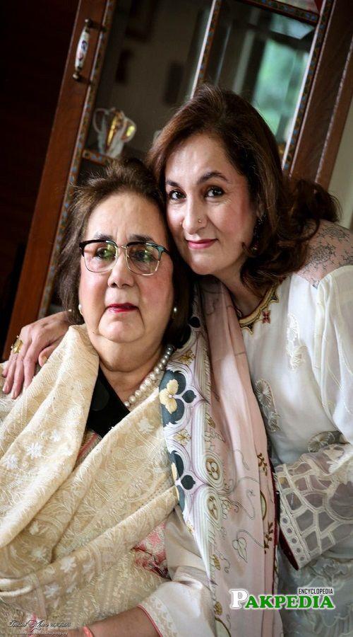 Mehnaz Aziz with her mother