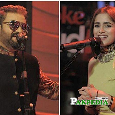 Sahir Ali Bagga Aima Baig on sets of Coke studio