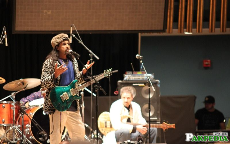 The band Junoon performing live .