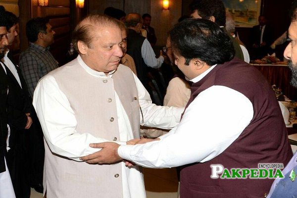 Zeeshan Rafique with his leader Nawaz Sharif