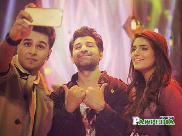 Shuja Haider with Asim and Momina on the set of Coke studio