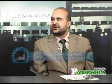 ghulam farooq awan giving a interview