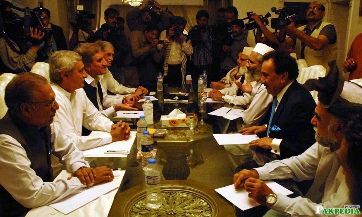 Committees of PTI and Government Sitting During Meeting at the Residence of Senator Rehman Malik