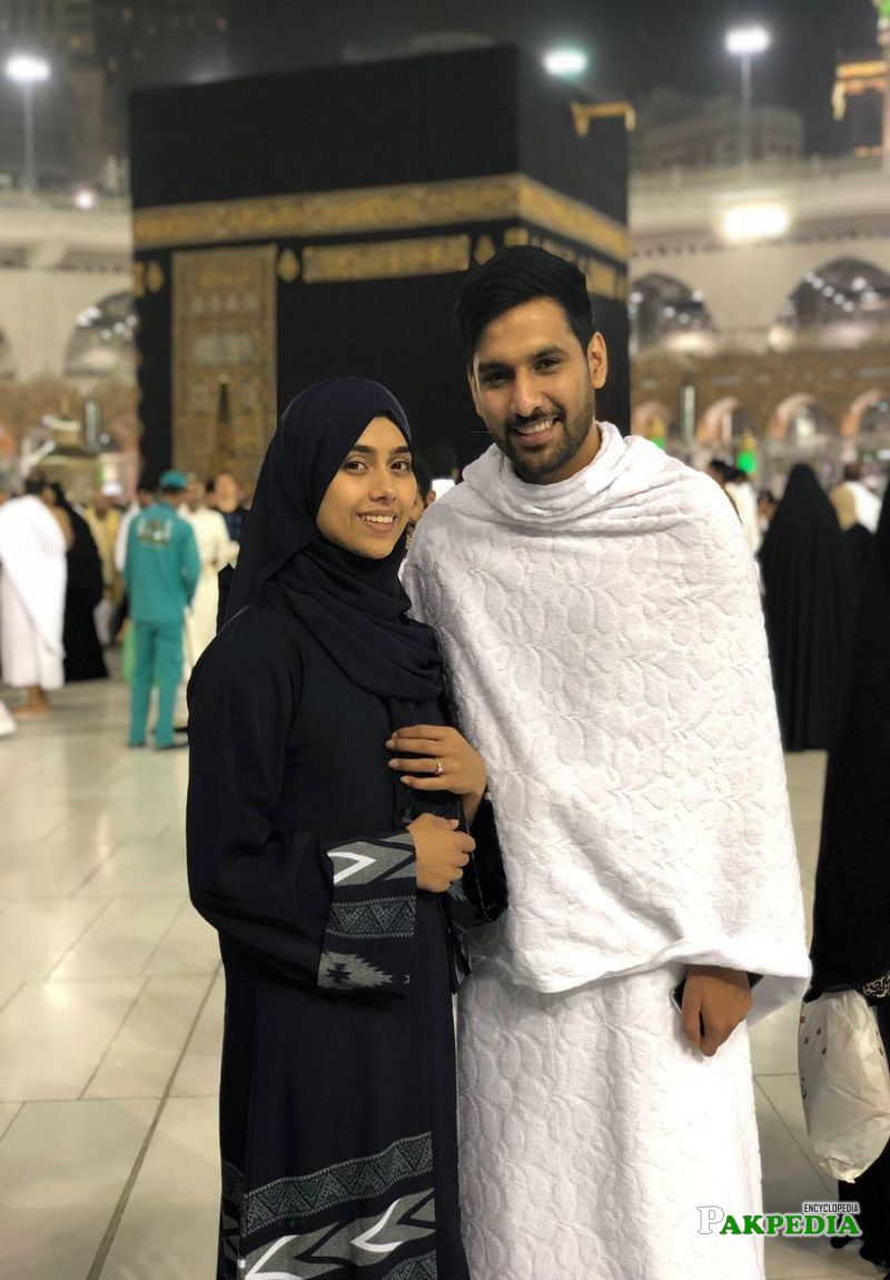 Zaid Ali with his wife while performing Umrah