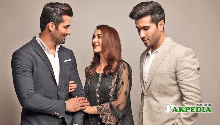 Zain baig with the cast of 'Dil kia karai'