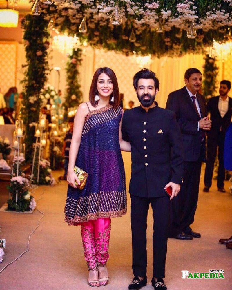 Hassan Hayat with Ushna Shah at an event