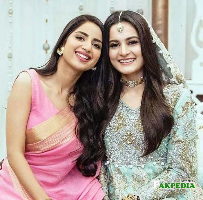 Saboor Ali at the engagement of Aiman Khan