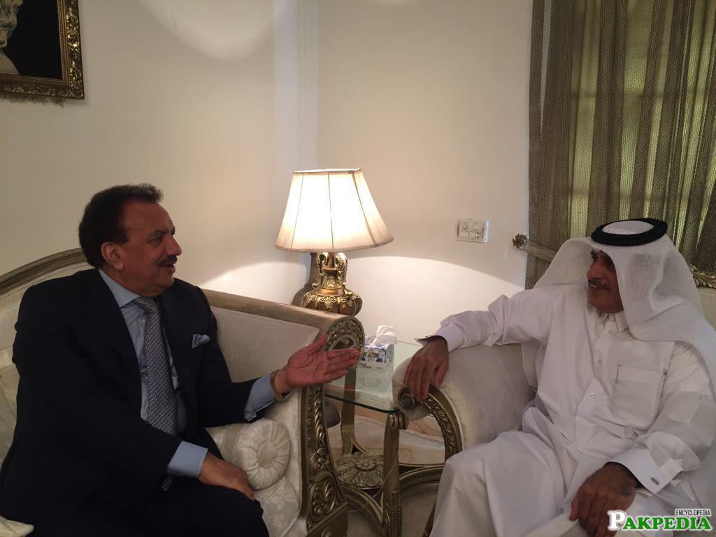 Mubarak Al Mansouri, Ambassador of the State of Qatar to the Islamic Republic of Pakistan, met with former Minister of Interior Senator Rehman Malik