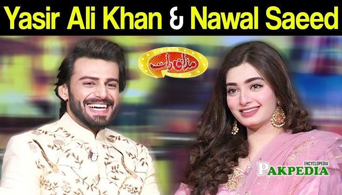 Nawal Saeed on sets of Mazak raat