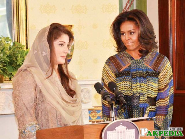 With Michelle obama