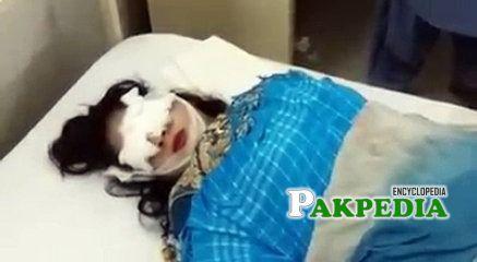 Samina Sindhu after being shot