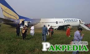 The plane skidded off the Lahore runway after its tyre burst due to a fault in