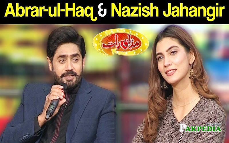 Nazish Jahangir on sets of Mazakraat