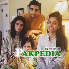 With her family
