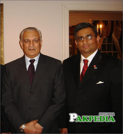 Raza Bokhari with Pakistani Ambassador Jehangir Karamat