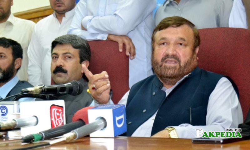PML-N Provincial Chief Pir Sabir Shah Addresses a press Conference in Peshawar