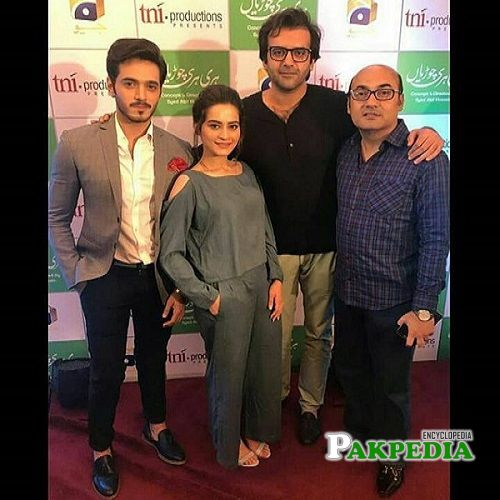 Hassan with the cast of Hari Hari Churian