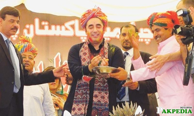 PPP Chairman Bilawal Bhutto Zardari applying colours to others while celebrating Holi festival