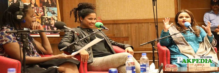 Hajra Khan with Faiza Saleem at BBC panel
