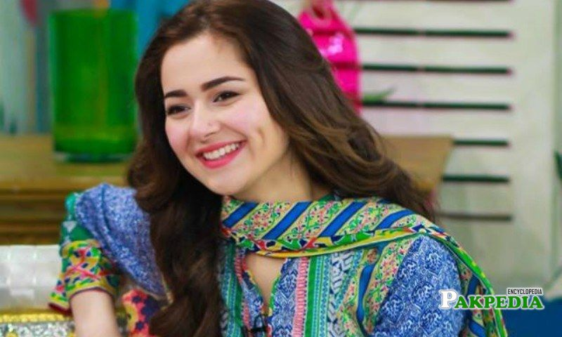 Hania in a morning show for the promotion of her film Janaan