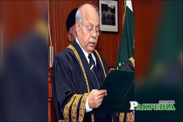 Gulzar Ahmad taking oath as Chief Justice