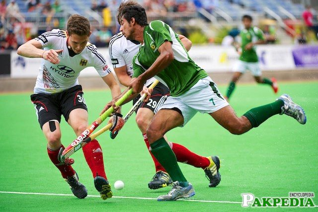 Muhammad Waqas of Pakistan. Pakistan Beat India to Win the bronze at the 2012 Champions Trophy in Melbourne, Australia. They also beat India in the finals of the Asian Champions trophy in Doha, Qatar.